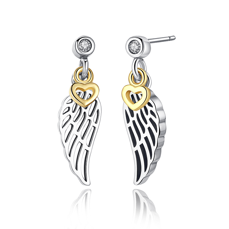 922a90ba0 100% 925 Sterling Silver Love & Guidance Clear CZ Drop Earrings with Gold  Color Hearts Dangling for Women Jewelry -in Drop Earrings from Jewelry ...