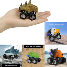 Mini Vehicle Animal Pull Back Cars with Big Tire Wheel Creative Gifts for Kids back to the future miniatura de carro(China)
