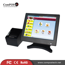Best-selling pos register butterfly shape 15 inch pos touch screen system pos meachine with pos thermal printer