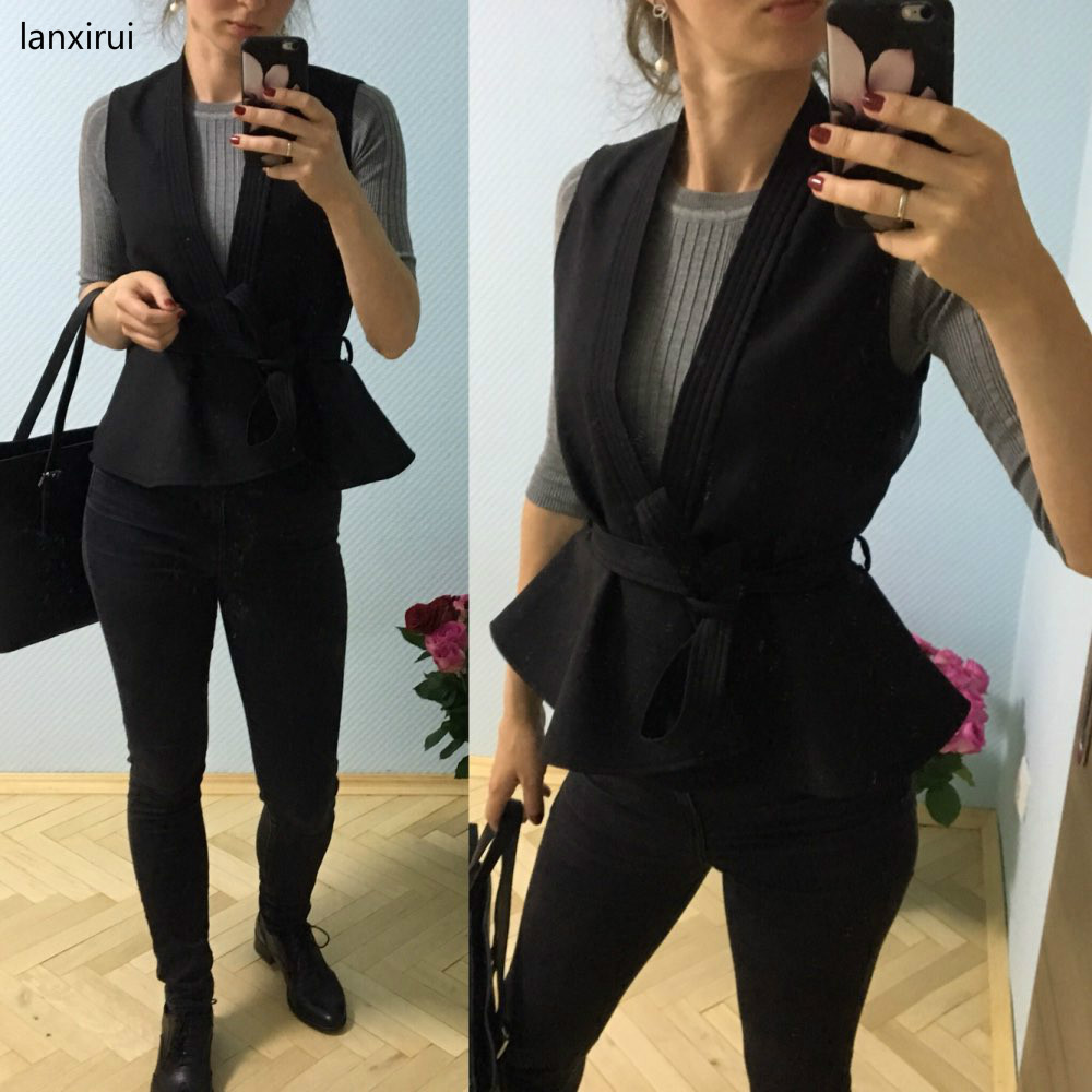 New Spring And Autumn Women's Jacket With Belt Ruffles Vest Waistcoat Women Casual Lady Coat