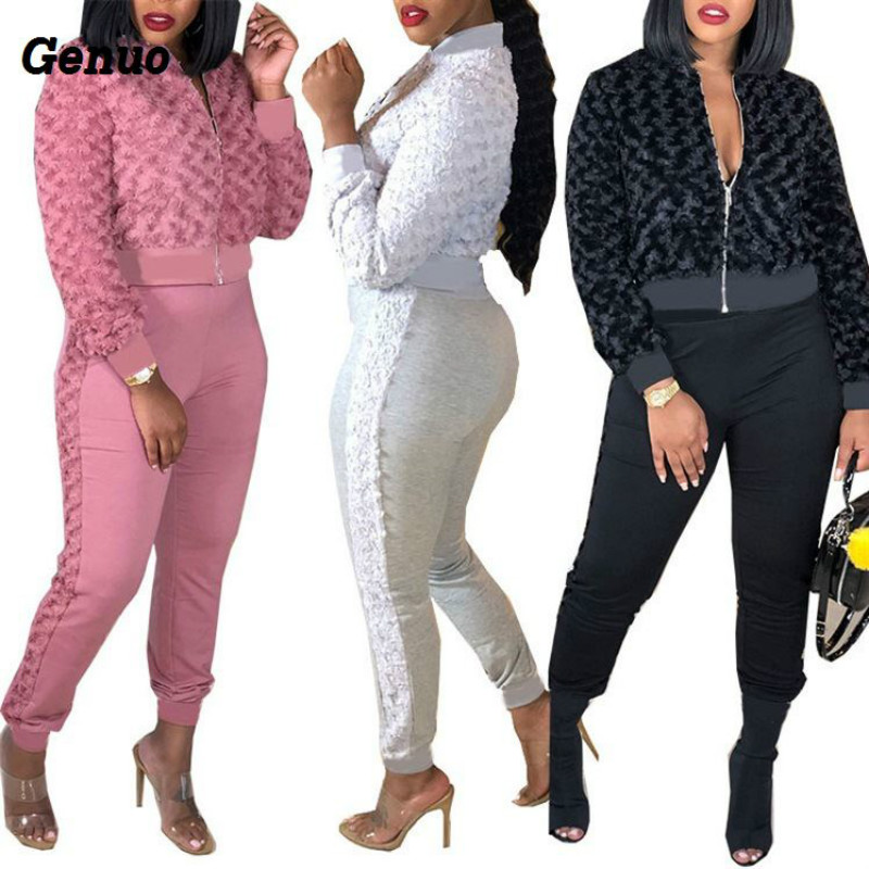 Women Hooded Long Sleeve Striped Coat Outer Wear Bodycon Long Pants Outfits 2pcs