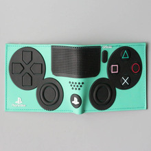 Men's Colorful Short Leather Wallet with Play Station Themed Pattern