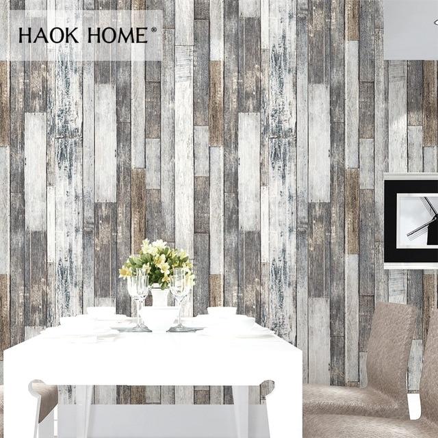 HaokHome Vintage Holz 3D Tapete Rollen Tan/Beige/Braun Holz Plank  Wandmalereien Hause Wohnzimmer