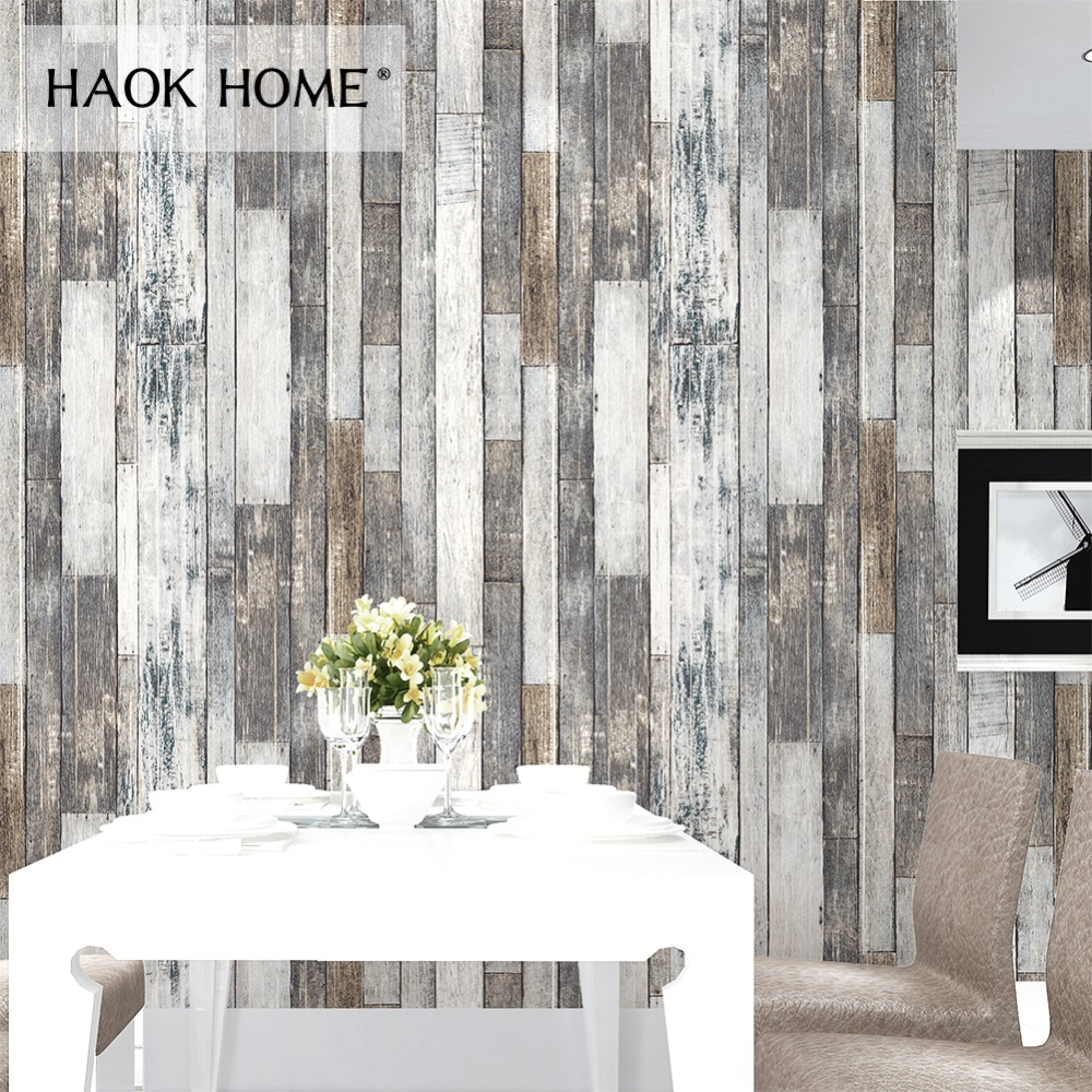 купить HaokHome Vintage Wood 3D Wallpaper Rolls Tan/Beige/Brown Wooden Plank Murals Home Living Room Kitchen Bathroom Photo Wall Paper по цене 3053.09 рублей