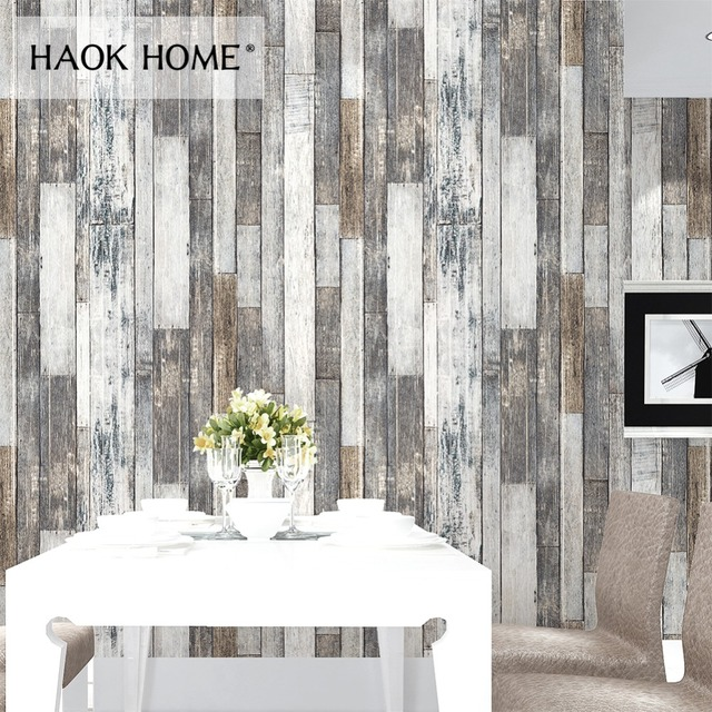 HaokHome Vintage Wood 3D Wallpaper Rolls Tan Beige Brown Wooden Plank Murals Home Living