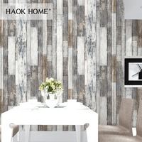 HaokHome Vintage Wood 3D Wallpaper Rolls Tan/Beige/Brown Wooden Plank Murals Home Living Room Kitchen Bathroom Photo Wall Paper