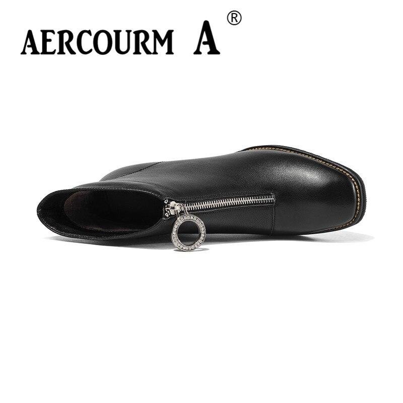 Alto Zapatos Mujeres Cuadrado De 2019 Aercourm Botas Del Genuino Invierno Negro Peluche Pie black Corto Tacón Tobillo Dedo Dama Las Cuero U7wFwqp