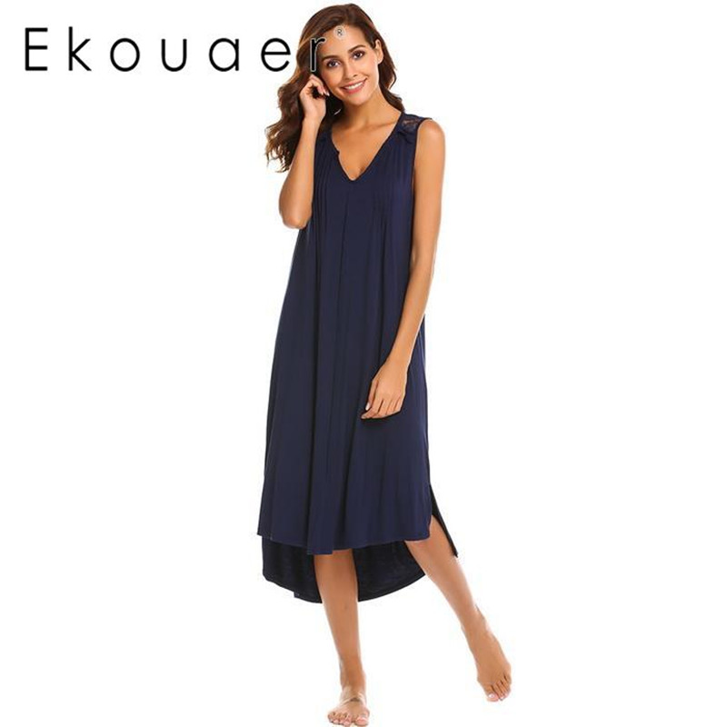 Ekouaer Elegant Women   Nightgowns     Sleepshirts   V-Neck Sleeveless Pleated Front High Low Long Night Gown Homewear Sleeping Dress