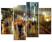 Hot Sales Frame 4 Panels Picture Street Lights Under The Street HD Canvas Print Painting Artwork