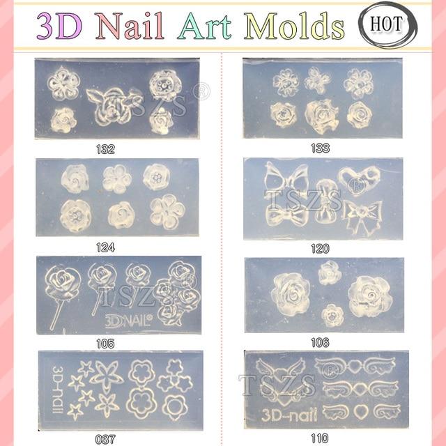 8pcs/lot 3D Acrylic DIY Design Nail Art Mold -in Nail Art Templates ...
