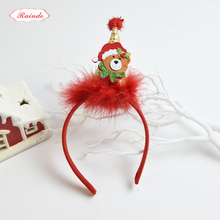 Raindo 2017 HOT Christmas Kids Headbands Girls Fabrics Stereoscopic Xmas Cap Hair Hoops Hair Bands Kids New Year Gift Headwear