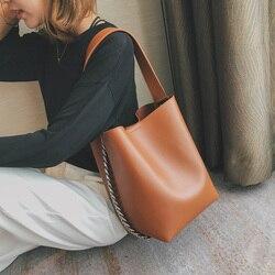 Brand design women shoulder bag Large capacity Chain bucket Handbags Quality PU leather Women's Totes Shopping Bag bolsa feminin