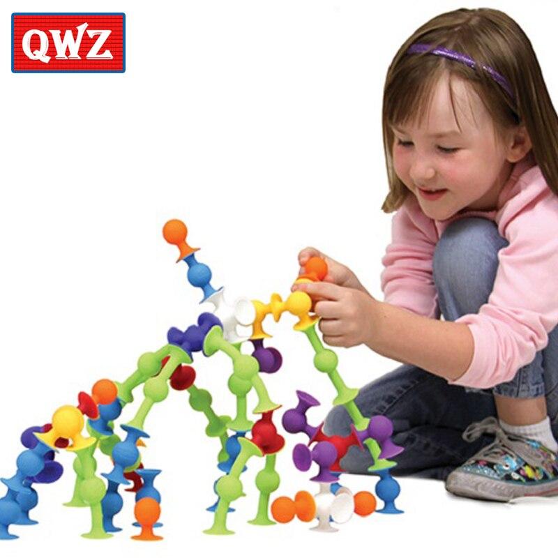 QWZ Soft font b Building b font Blocks Kids DIY Pop Sucker Funny Silicone Block font