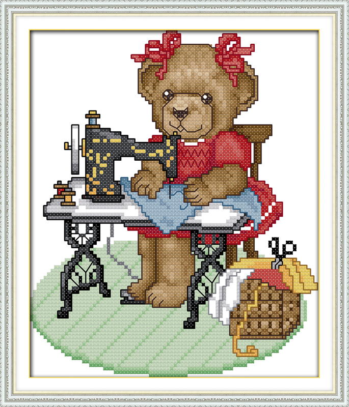Joy sunday cartoon style The tailor bear cross stitch patterns online needlework shops christmas gift for kids