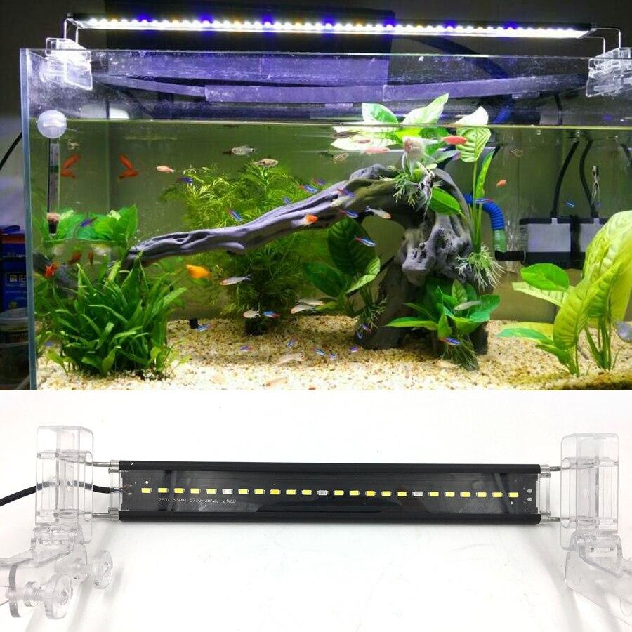HIgh quality SMD LED Aquarium Light Turn Open Fish Tank Lamps 18-58cm Blue Yellow White Led Lighting Aquario
