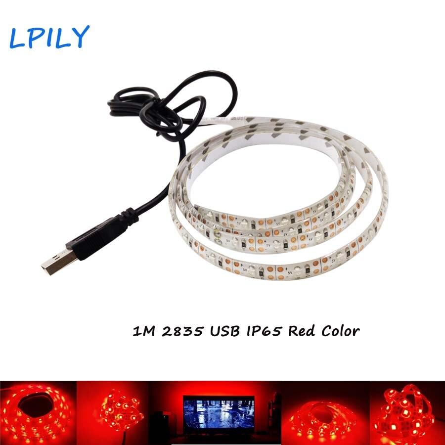 LPILY Waterproof USB led strip red color 1m 30leds Waterproof Tape DC 5V TV Background Lighting DIY Decorative led ribbon IP65