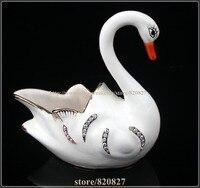 Swan Handmade Jeweled Metal Trinket Box Elegant Swan Earring and Ring Tray Swan Jewelry Box for Women and Girls
