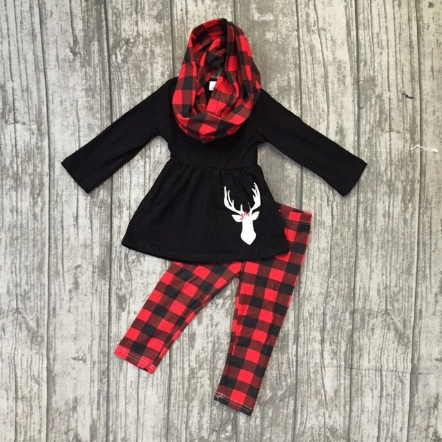 f6da10e769b9d Fall/winter 3 pieces scarf red black Christmas baby girls outfits children  clothes reindeer plaid cotton pant boutique kids wear