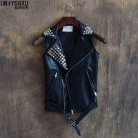 S 3XL Fashion Male Slim Sleeveless Vest Summer Thin Outdoor Top Rivet Outerwear Plus Size Men