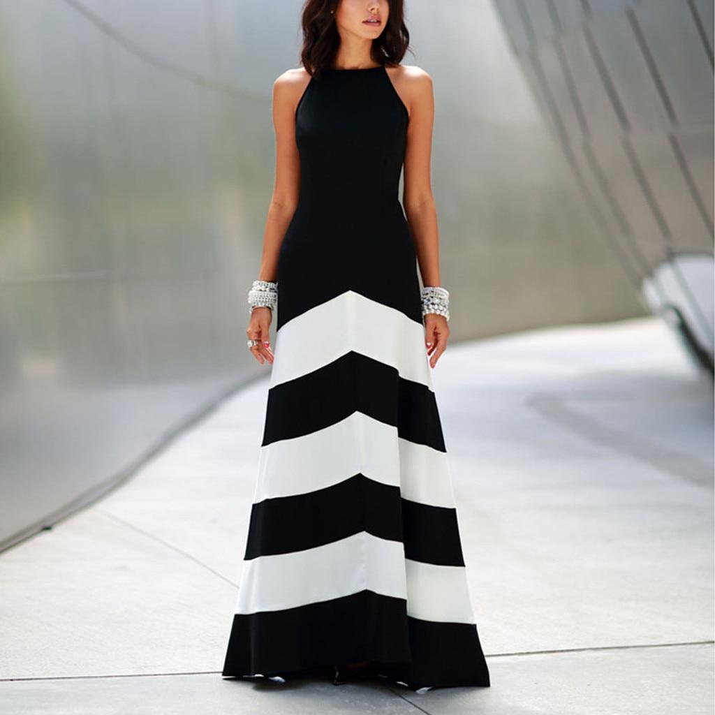 Feitong Summer Vintage Womens Dresses Fashion Striped Sleeveless Evening Party Sundress Elegant Long Maxi Vestido De Festa Longo
