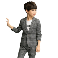 Boy Blazers Kids Children Suits 2019 Spring Boys Formal Long Sleeve Plaid Boys Suits for Weddings Fashion Children Clothes 4 12T
