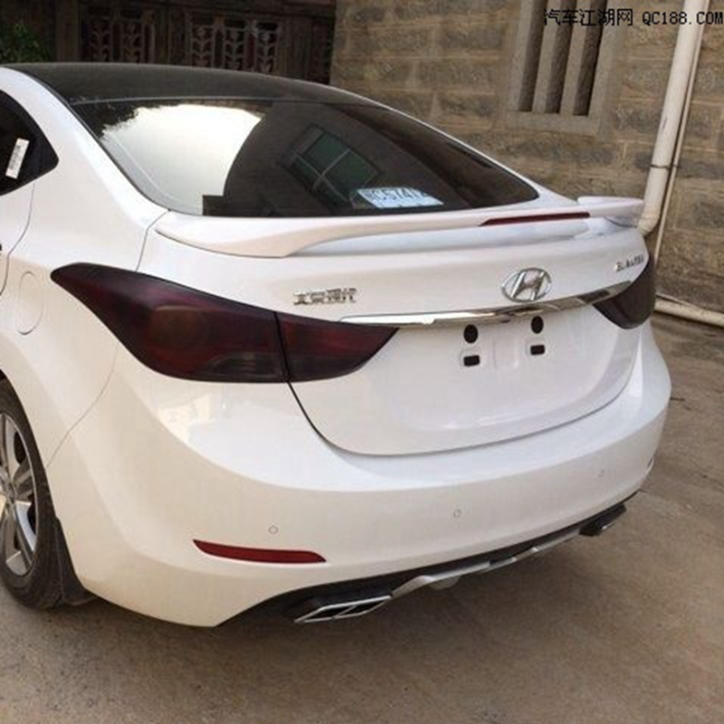 use for hyundai elantra spoiler elantra spoiler with LED light High Quality ABS Material Car Rear Wing Primer Color spoiler