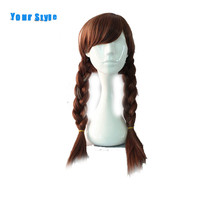 Your Style Long Brown Braided Box Braids Women S Cosplay Hair Wigs With Two Ponytails For