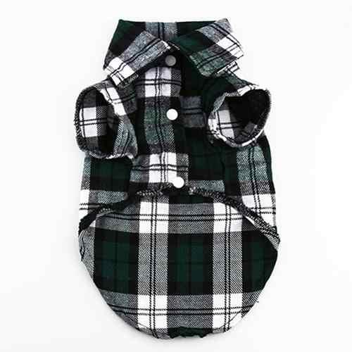 Piccolo Cane di Animale Domestico Della Camicia di Plaid del Risvolto del Cappotto del Gatto Giacca Vestiti di danza Costume Abbigliamento Set