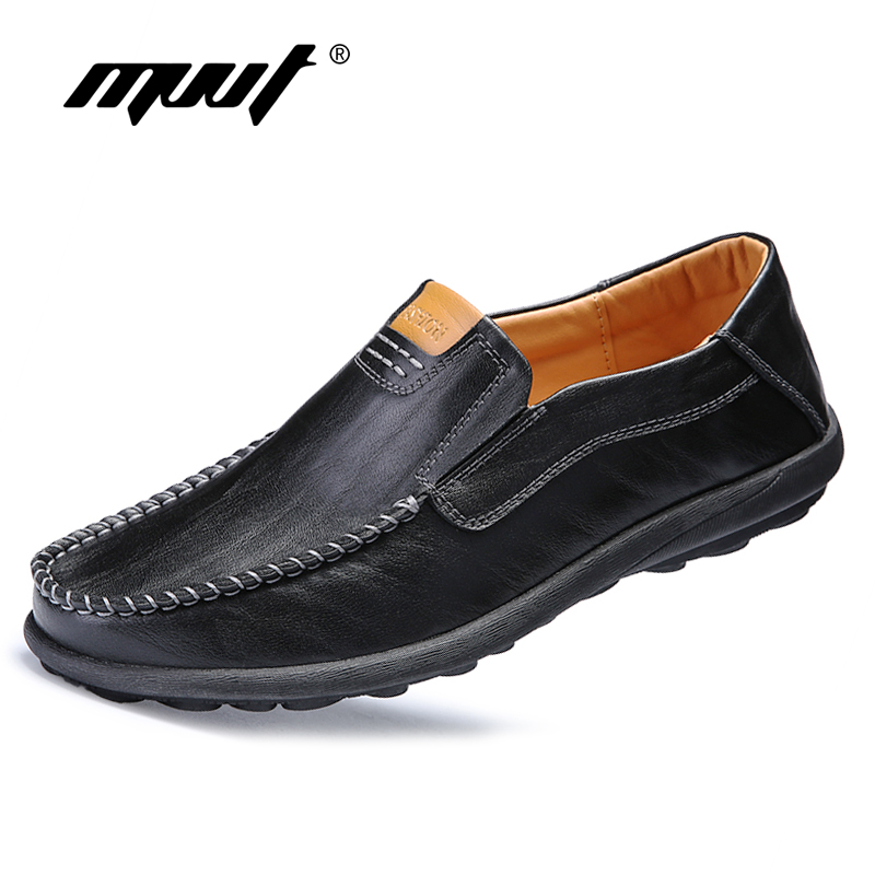 MVVT Plus Size Men Casual Leather Shoes Soft Split Leather Loafers Men Slip On Casual Shoes