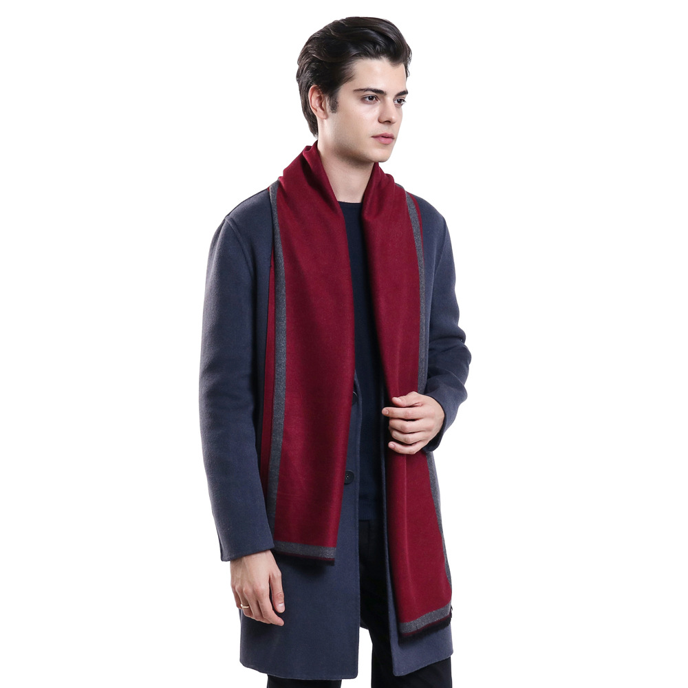 2019 Classic Geometric Gentleman Elegant Gray Autumn Winter Men Striped Scarf Male Lattice Warm Long Scarves Pashmina Muffler
