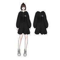2019 плюс Размеры 5xl 4xl Платье Толстовка Для женщин в Корейском стиле черные худи пуловер Укороченный свитшот качество балахон Лидер продаж