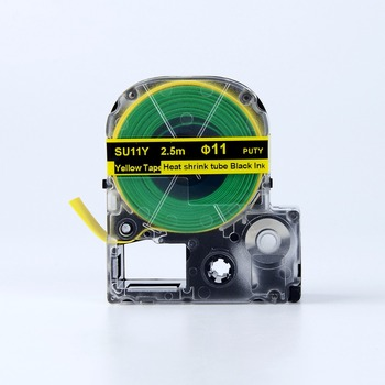 PUTY 1PCS SU11Y Black on Yellow Heat Shrink Tube Tapes 18mm SU11Y Label Tape for Epson LW-700P LW-900 Label Printers