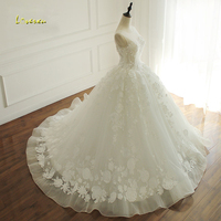 Loverxu Robe De Mariee Sexy Backless Princess Wedding Dresses 2017 Appliques Beaded Flowers Ruched A Line