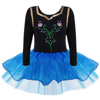 Princess Anna Girls Ballet Tutu Dancewear Party Skating Long Sleeve Dress 2 8Y Kids Leotard Skirt