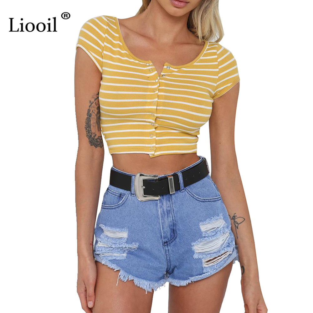 Szkzk Sexy Striped Crop Tops 2018 Women Summer Short Sleeve Button Slim Top Casual Streetwear Red Yellow Beach Tank Tops Female