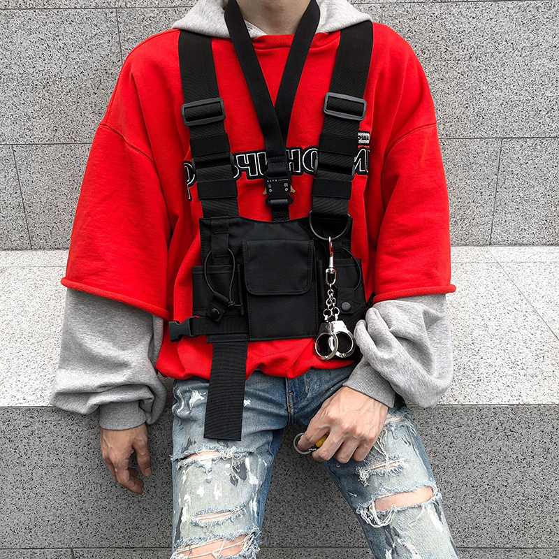 Men Tactical Vest Harness Kanye West Vest Rig Hip Hop Streetwear Functional Chest Bag Waistcoat Front Pack Pouch 062502