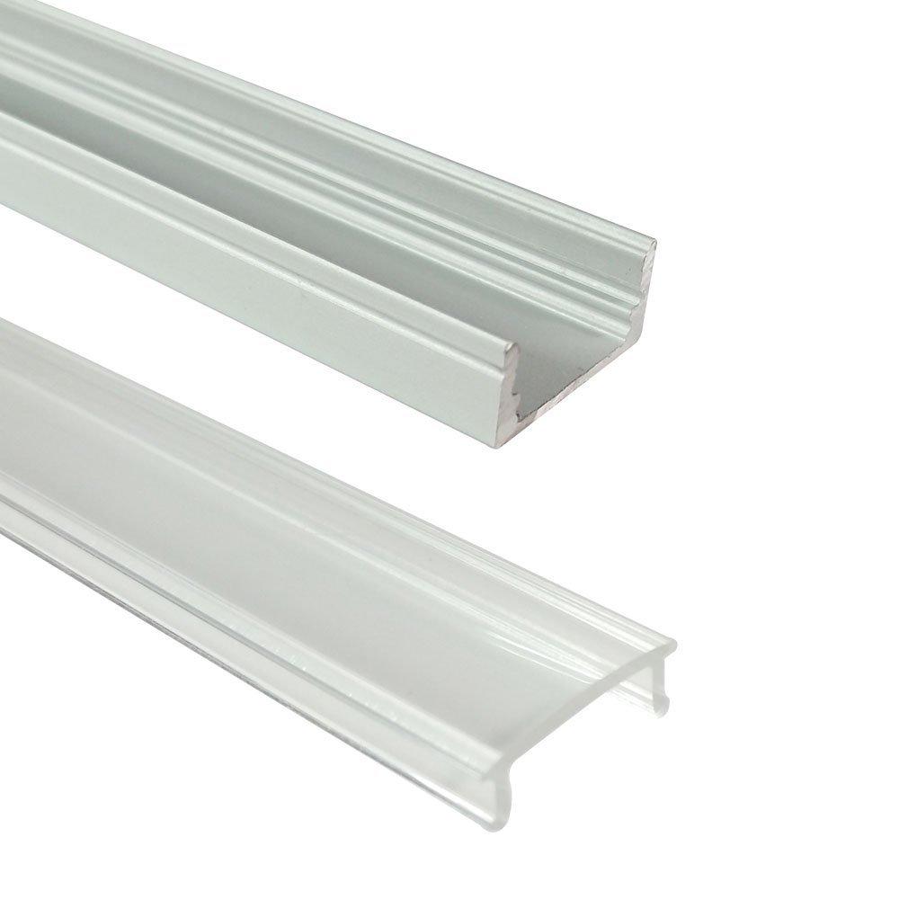 Unvarysam 1.64ft/0.5 м LED Алюминий канала 0.48in Ширина (12 мм внутренний) U Тип заподлицо с прозрачной крышкой заглушки монтажных Зажимы