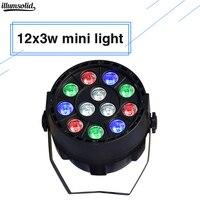 Светодиодный пар 12X3 Вт RGBW мини микс цвет мыть стены DMX контроллер светодиодный плоский Par-прожектор dj сценический
