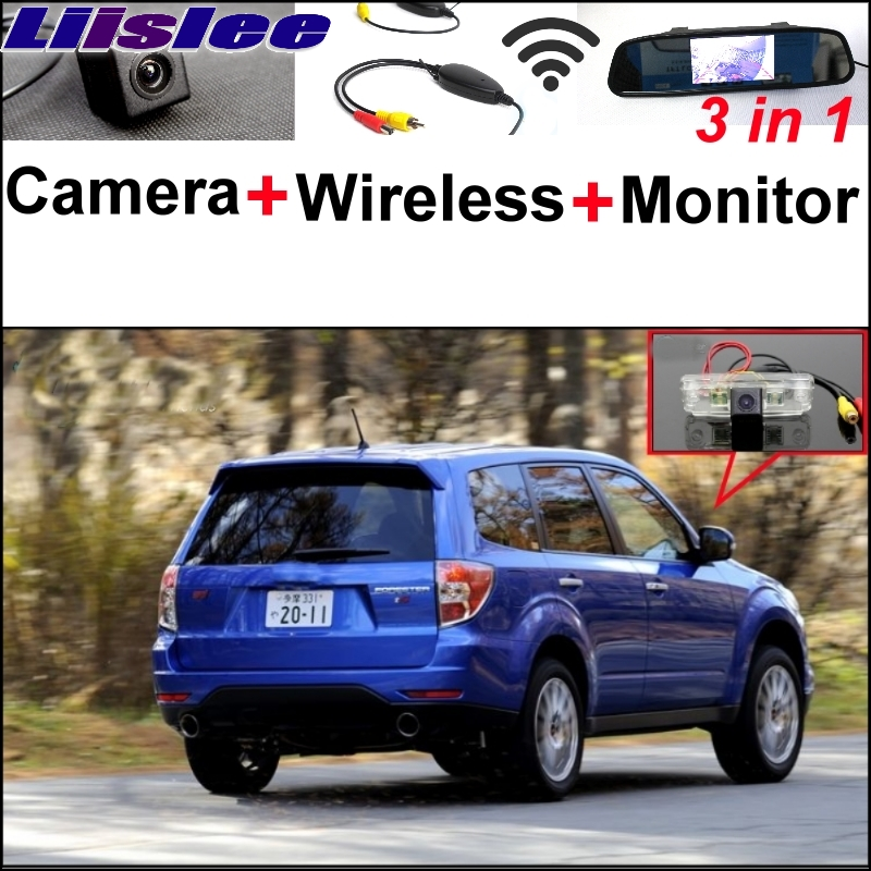 Liislee Special Rear View Camera + Wireless Receiver + Mirror Monitor Easy Black Up Parking System For Subaru Forester SG SH new restaurant equipment wireless buzzer calling system 25pcs table bell with 4 waiter pager receiver