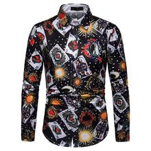 Poker printing Hawaiian Shirt Casual Mens Shirts Long sleeve Blouse Men clothes Fashion New