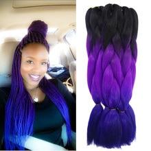 "Purple Ombre Kanekalon Jumbo Braiding Hair Styles 22"" 100g African American Synthetic Purple&blue Braiding Hair Colors"