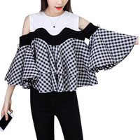 Fashion Black and White Color Block Cold Shoulder Flare Sleeve Swing Checkered Top Woman's Fashion 2017 Cute Blouses
