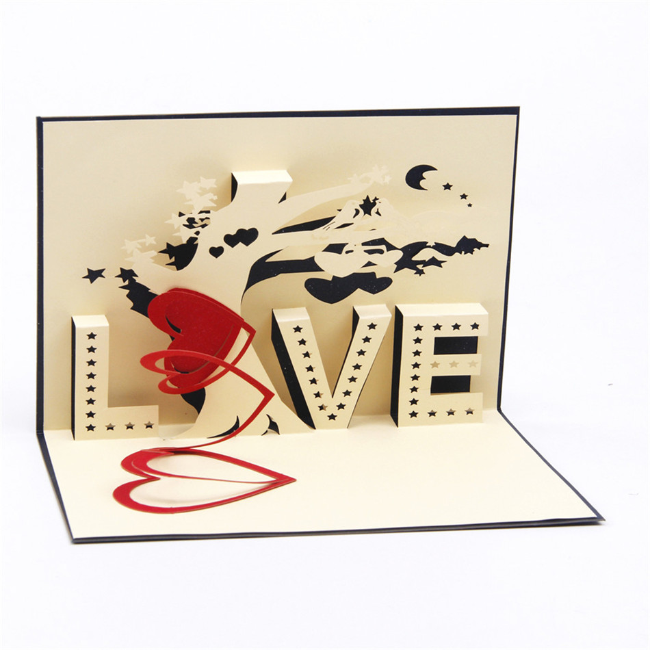Heart tree laser cut origami paper 3d pop up cards with love heart tree laser cut origami paper 3d pop up cards with love greeting cards post cards valentines day gifts arts 10pcs in cards invitations from home kristyandbryce Image collections