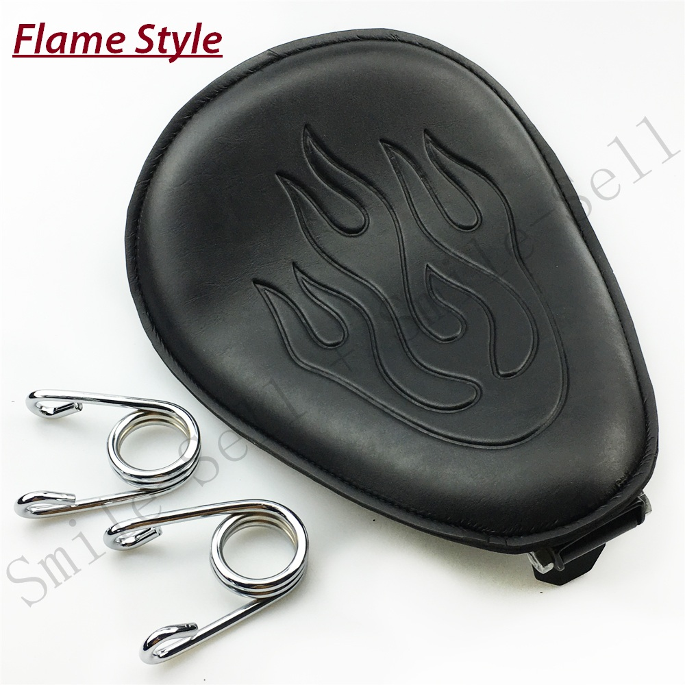 Motorcycle Spring leather solo Flame seat Bracket For Harley Sportster Chopper Bobber Suzuki Honda Yamaha motorcycle for custom harley chopper sx650 honda cb bobber solo spring seat flame pattern