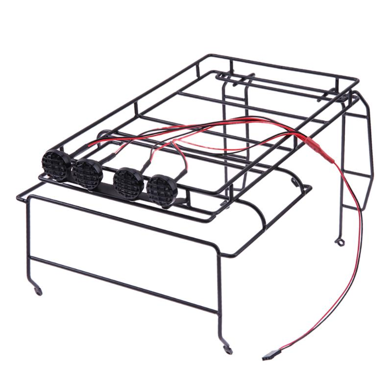 Metal Luggage Racks with 4LED for AXIAL SCX10 D90 Crawler