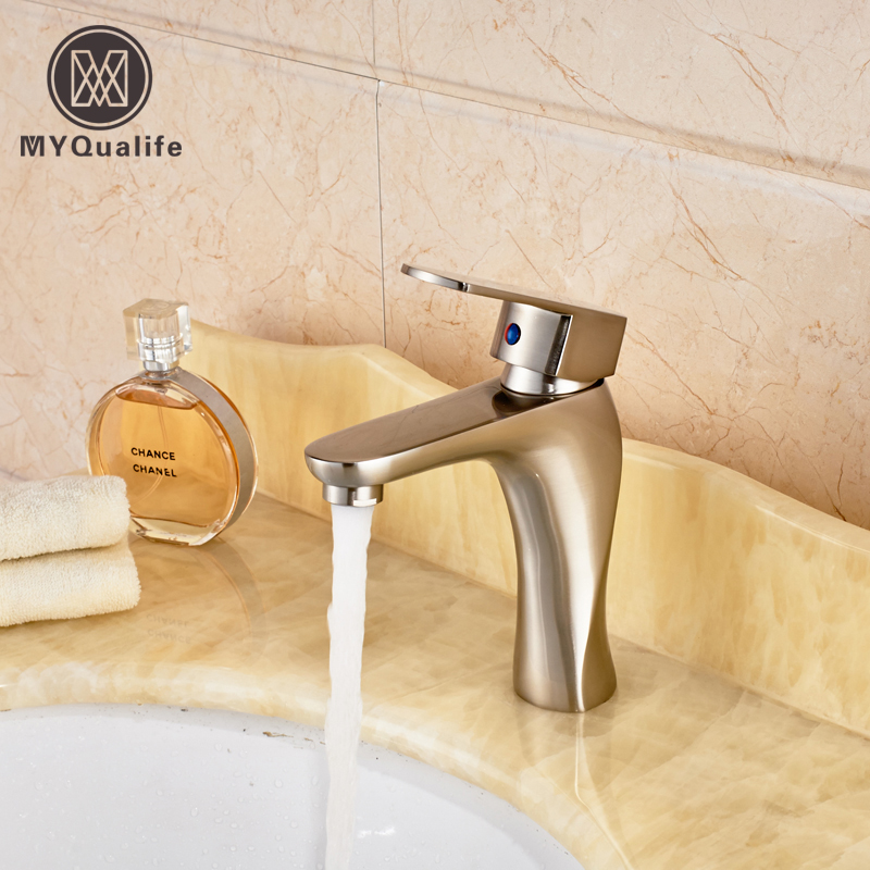 Free Shipping Bathroom Vanity Sink Mixer Faucet Single Handle Brushed Nickel Washing Basin Faucet Taps цена