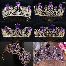 Огромный фиолетовый цветок, Хрустальная свадебная тиара, свадебная корона для невесты, Стразы золотого цвета, головная повязка, ювелирные аксессуары