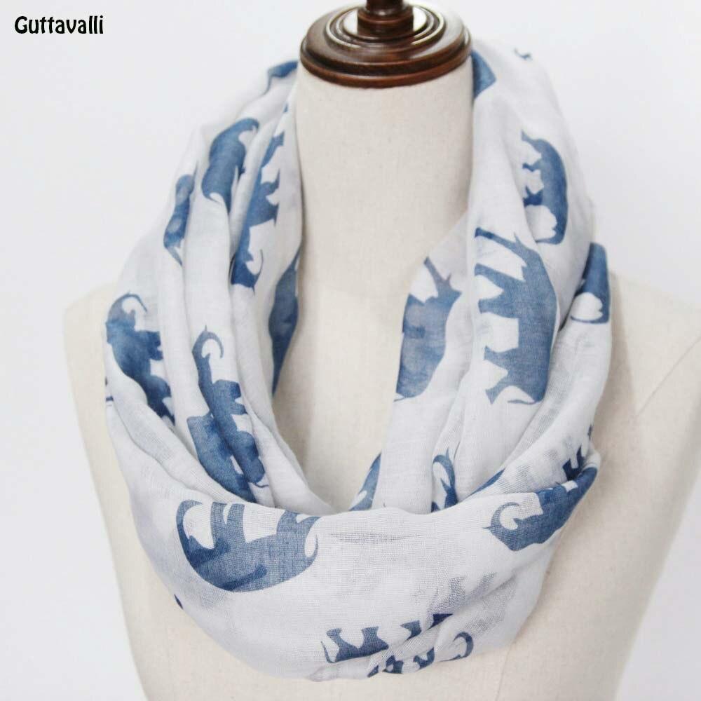 Guttavalli Women Christmas Fashion Elephant Print Loop Shawl Vintage Animals Ring Scarf Winter Chevron Viscose Infinity Scarves
