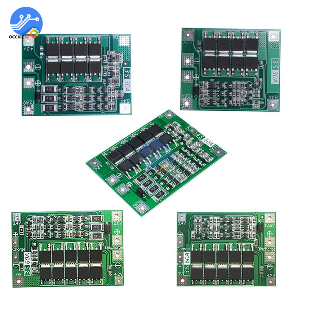 3S 60A/30A 4S 40A Li-ion Lithium Battery Charger Protection Board BMS 3S/4S For Drill Motor 16.8V Battery Balancer Power Bank