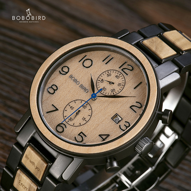 Quartz Stainless Steel with Wood Casing Watch
